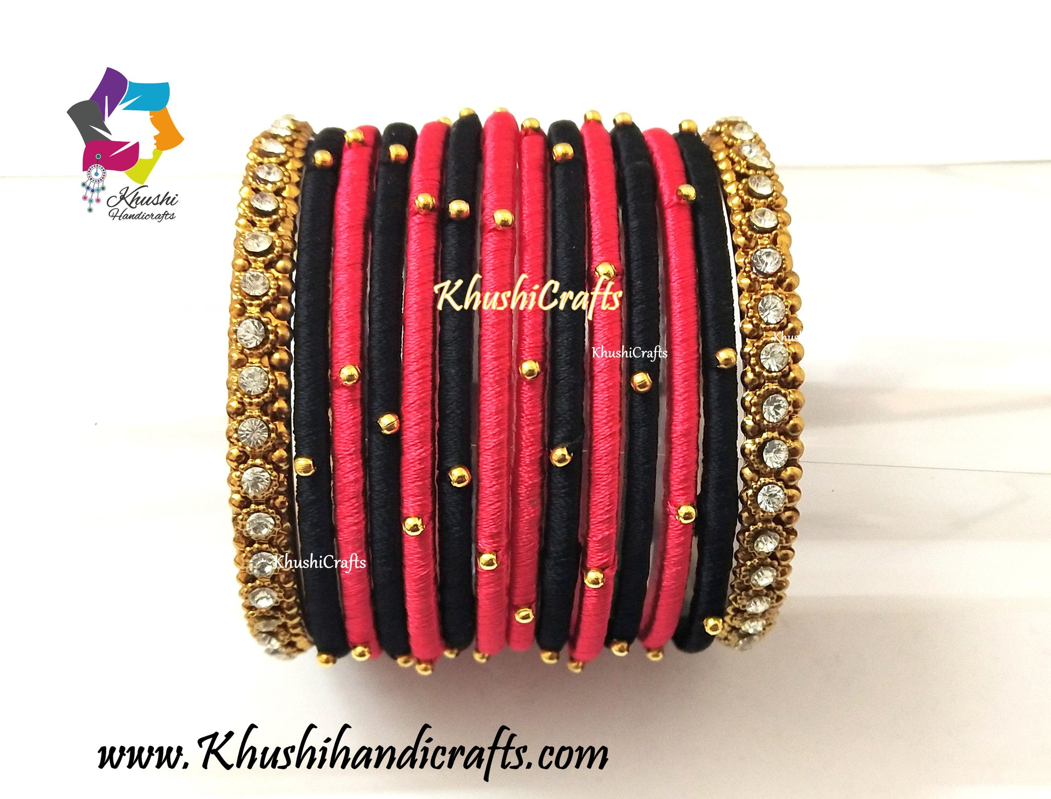 Red Black Silk Bangles