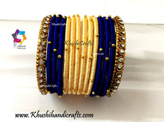 Cream Blue Silk Bangles