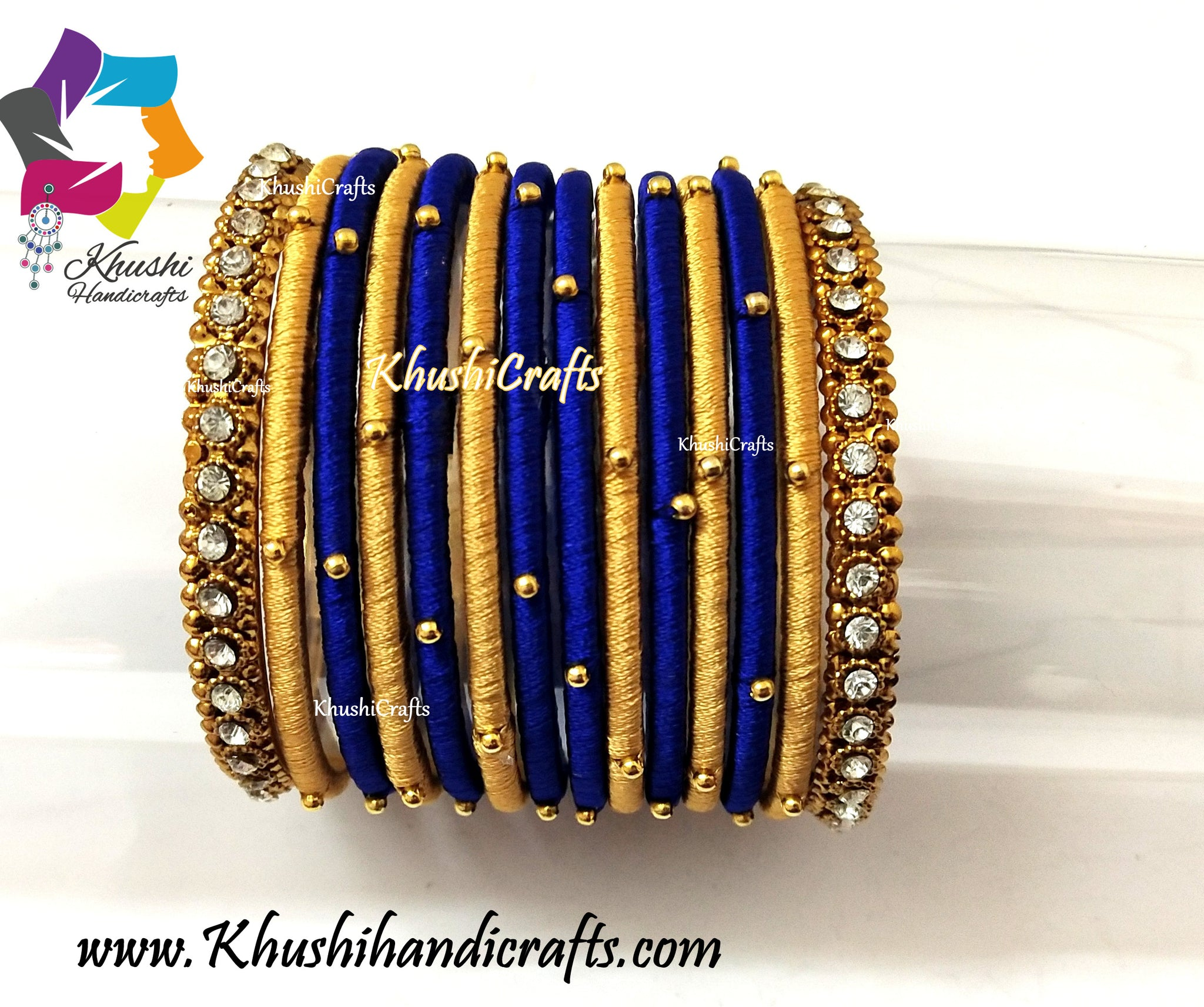 Gold Blue Silk Bangles