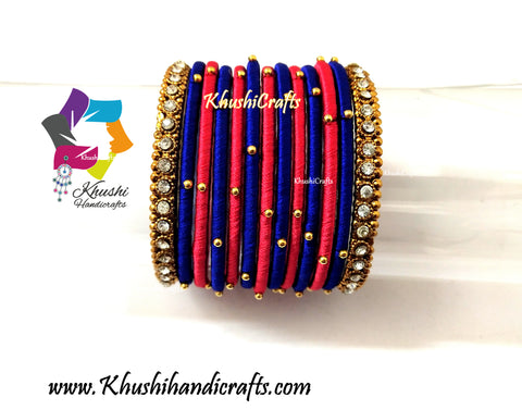 Red and Blue Silk Thread Bangles