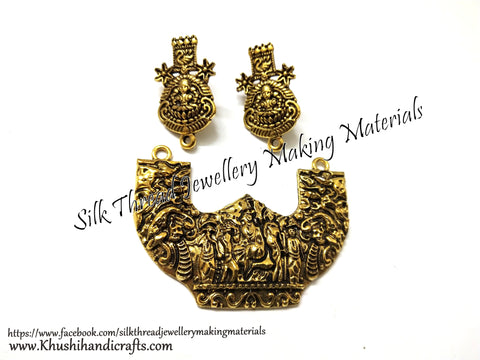 Antique Gold Designer Temple Pendant Stud Combo for Jewellery Making Pattern 28