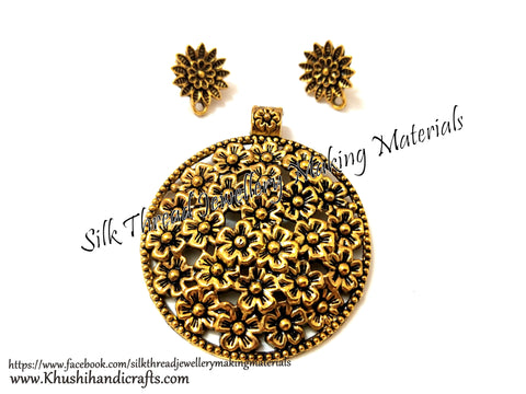 Antique Gold Designer Pendant Stud Combo for Jewellery Making Pattern 30