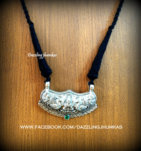 Oxidised Lakshmi Pendant with Black adjustable Necklace Cord Dori