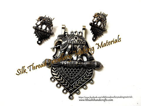 Antique Silver Designer Bahubali Elephant Pendant Stud Combo for Jewellery Making Pattern 25