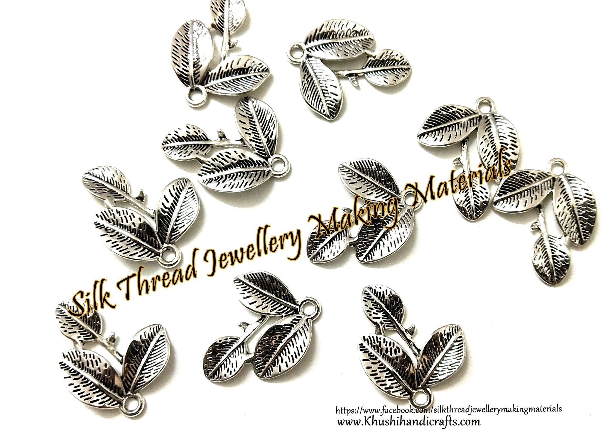 Antique Silver Leaf Designer Pendant Charms.Set of 20 pieces!