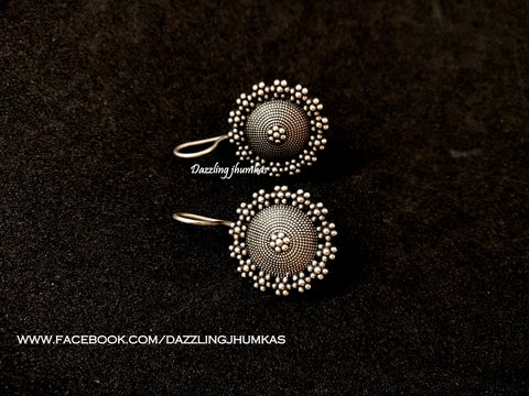 Silver Look alike Flower Oxidised Dangler Earrings