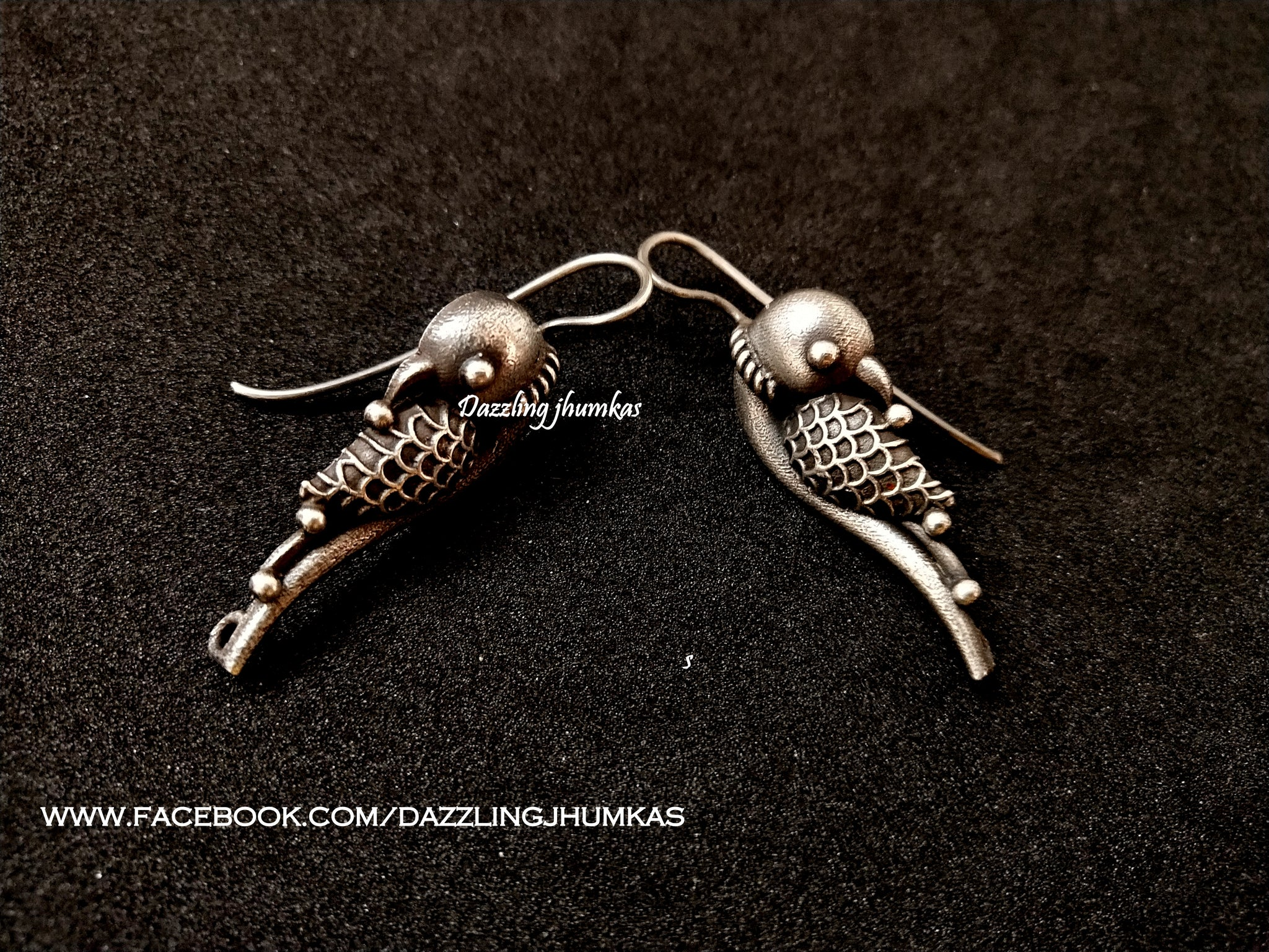Oxidised german silver parrot peacock earrings
