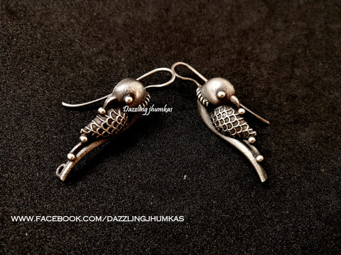 Silver Look alike Parrot Oxidised Dangler Earrings