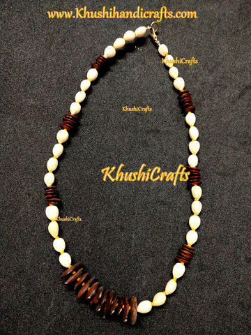 Natural seed Jewellery in Off white and brown-Necklace