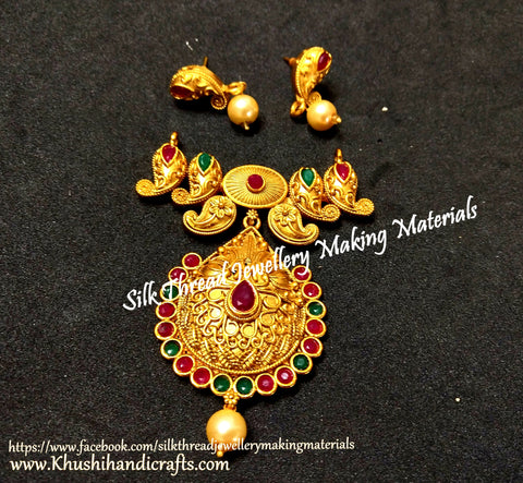 Antique Gold Designer Red and Green Pendant Stud Combo for Jewellery Making