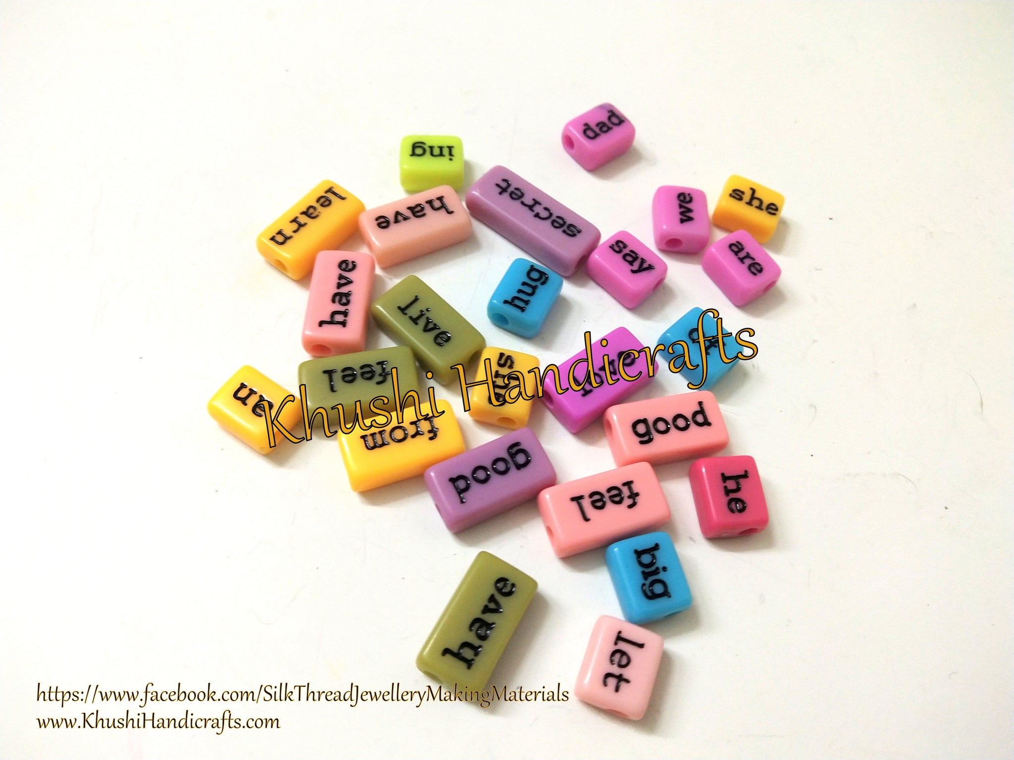 25 pieces Mixed Color Acrylic Emotional Tile Word Beads Spacer Beads For Resin Crafts  and Jewelry making