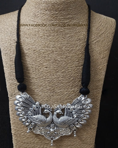 Oxidized Big Double Peacock  Pendant with Black adjustable Necklace Cord Dori !
