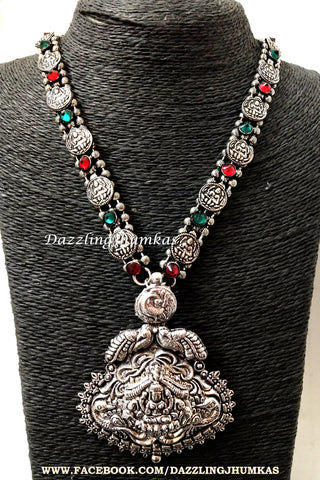 Oxidised Silver Long Lakshmi Temple Haram -Coin Pattern- German Silver Indian Jewelry