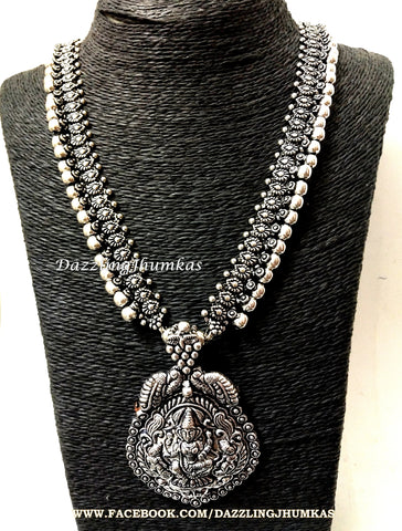 Oxidised Silver Long Lakshmi Temple Haram - German Silver Indian Jewelry
