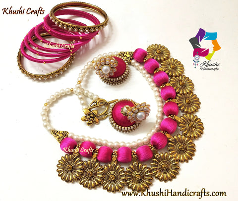 Pink Double layered silk thread Pearl Necklace set with Jhumkas