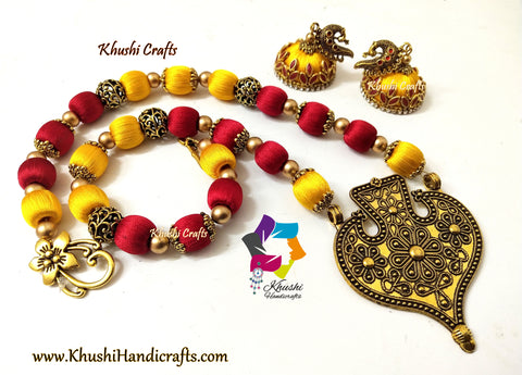 Red and Yellow Silk Thread Jewelry Set with Designer Pendant