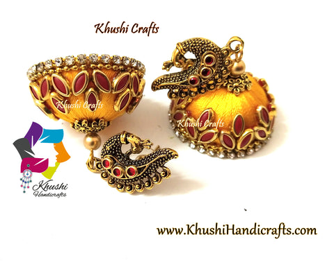 Yellow Red Peacock Kundan stone Silk thread jhumkas !