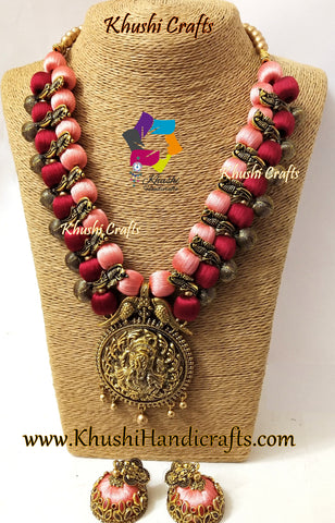 Maroon Peach Silk Thread Jewelry Set with Kolhapuri beads and Ganesha Pendant!