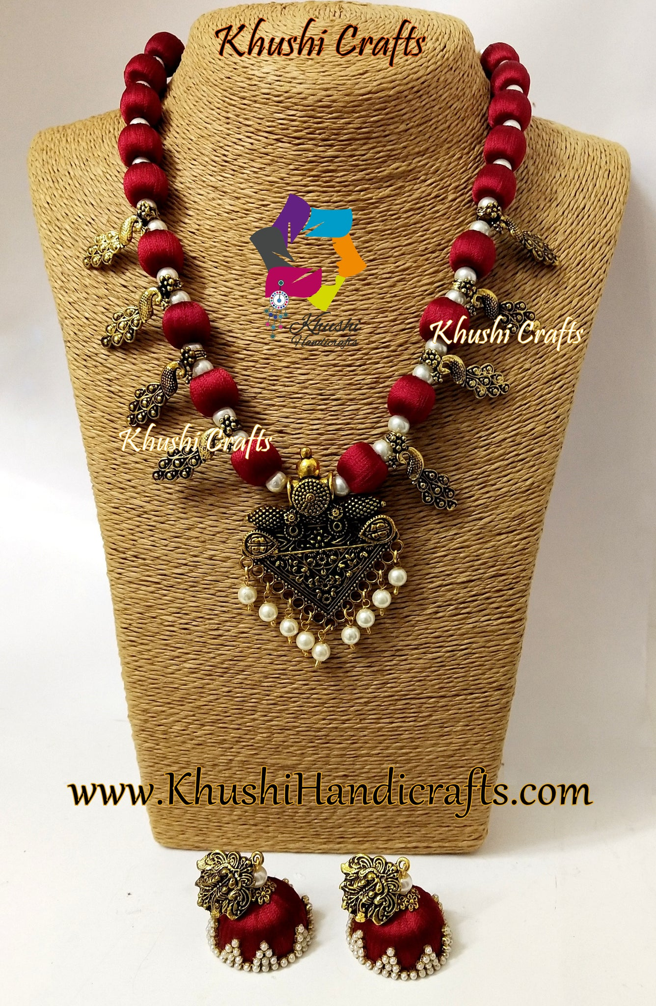Maroon Silk thread Jewelry set