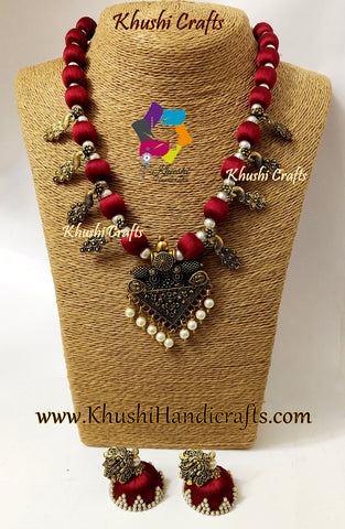Maroon Silk Thread Jewelry Set with Kolhapuri beads and designer Pendant!