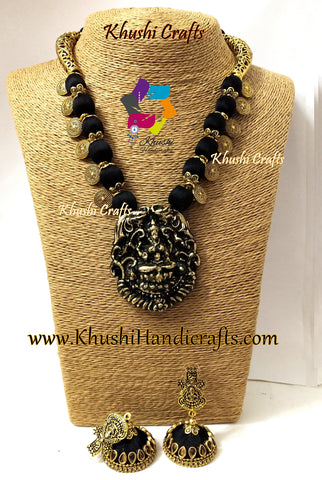 Black Silk Thread Jewelry Set with Round spacer charms and Clay Lakshmi Pendant
