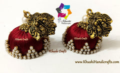 Silk thread Maroon Jhumkas