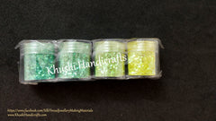Light Green shaded Glitter Powder For Resin Crafts ,Jewelry Mold Filling and Nail art.Pack of 4 bottles included!