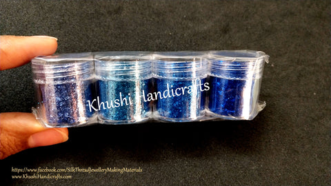 Dark Blue shaded Glitter Powder For Resin Crafts ,Jewelry Mold Filling and Nail art.Pack of 4 bottles included!