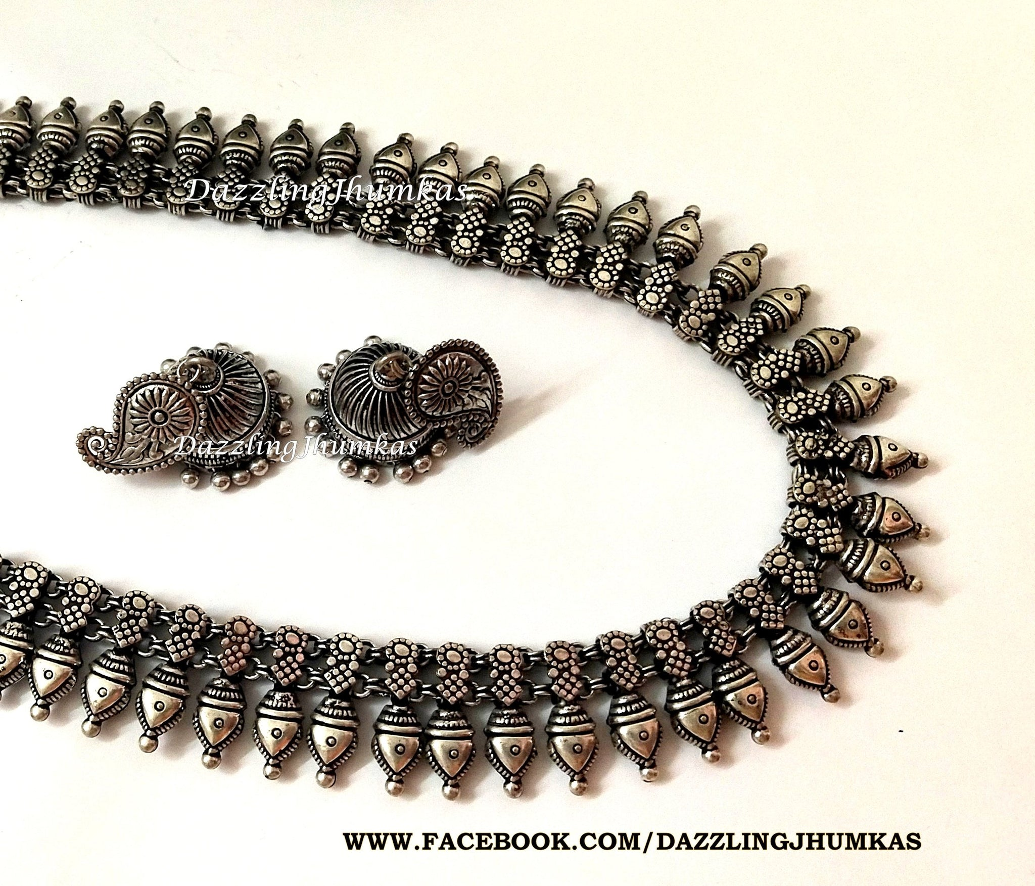 Kolhapuri oxidized silver necklace
