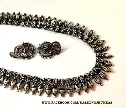 Oxidised German Silver Long haaram Necklace with Earrings Pattern 2 !