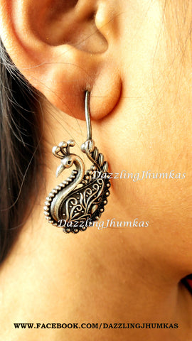 Silver Lookalike Peacock Oxidised Dangler Earrings