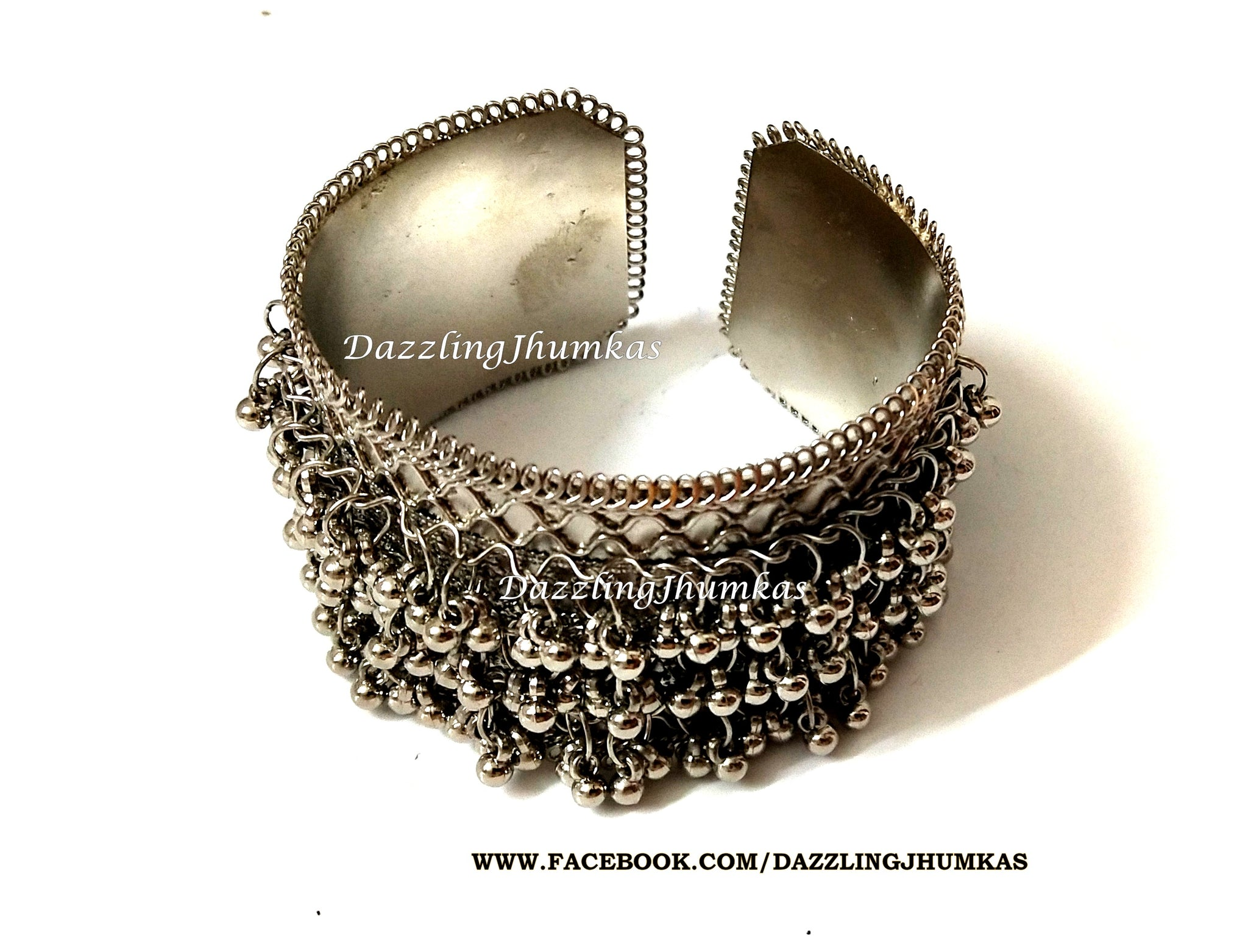 Oxidised German Silver ghungroo Cuff Bracelet Traditional kada Bangle