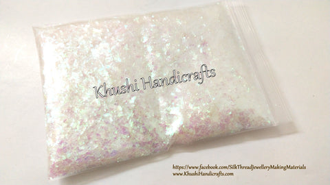 White Snowflake irregular Glitter used  in Decoupage Art ,Resin art , Jewellery Crafts,Candle Making and Nail Art