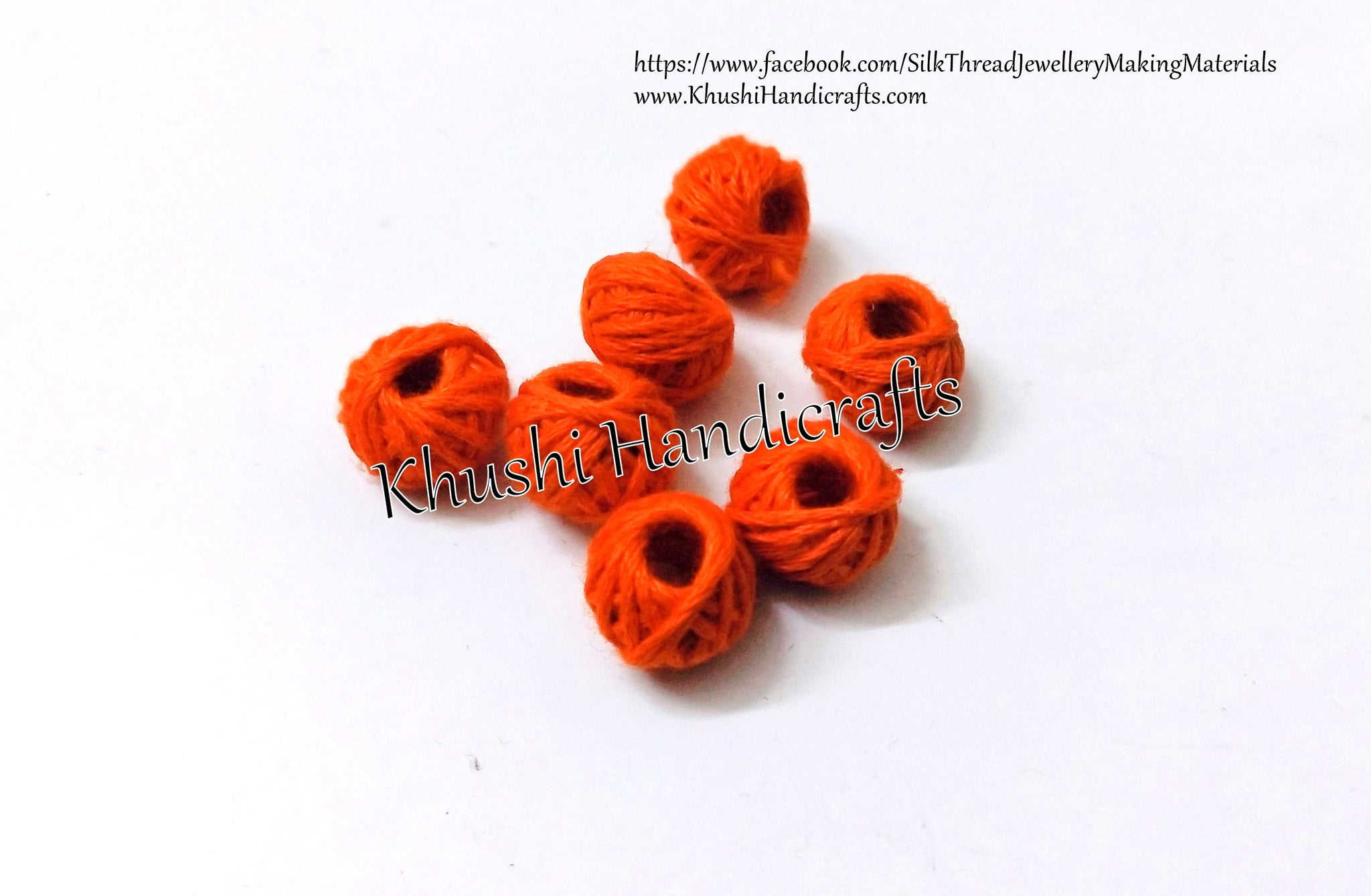 Orange Cotton Thread Bead /Beads