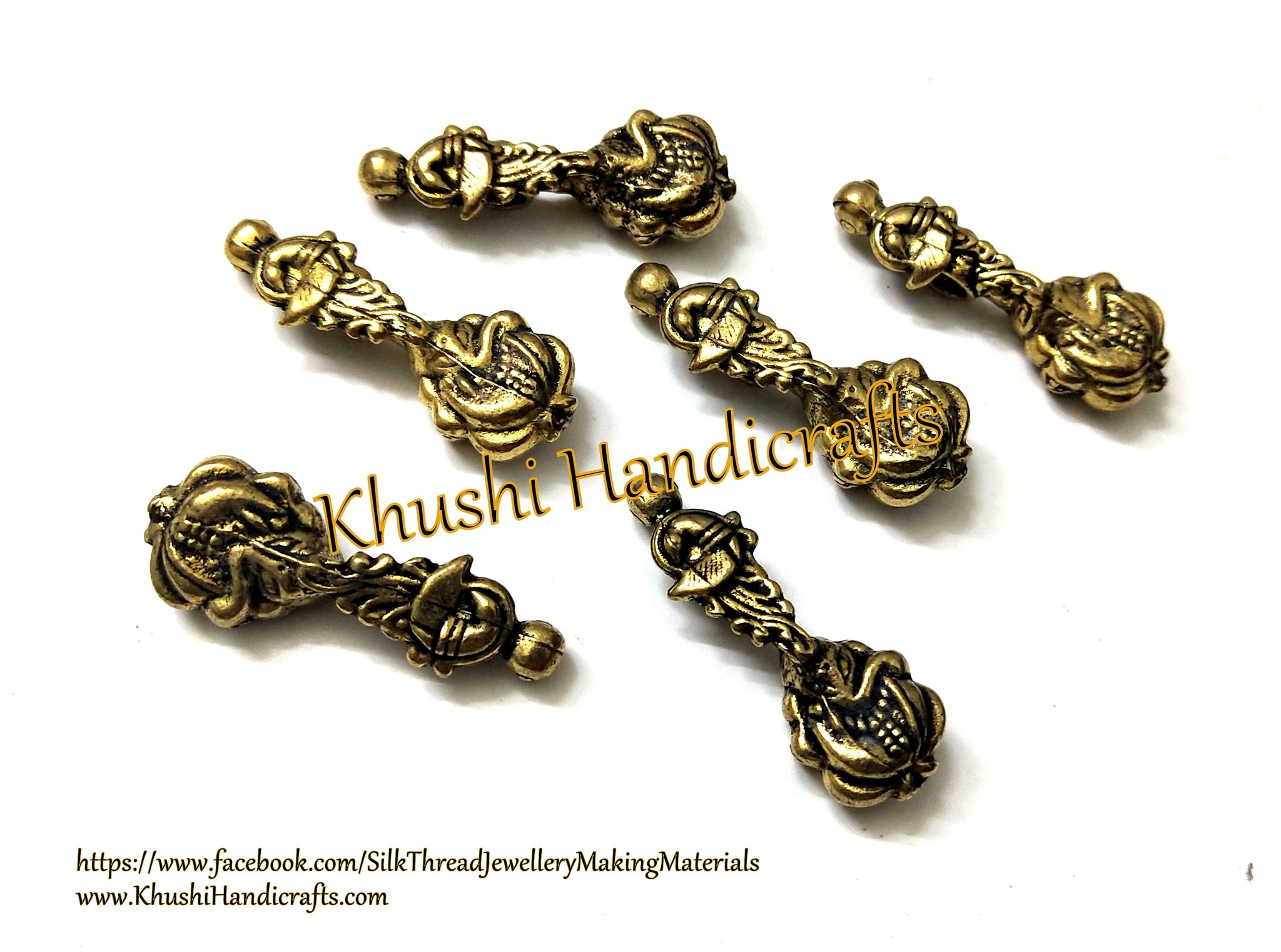 Kolhapuri Beads Antique Gold Peacock Ganesha Pattern 38.Sold Per piece!