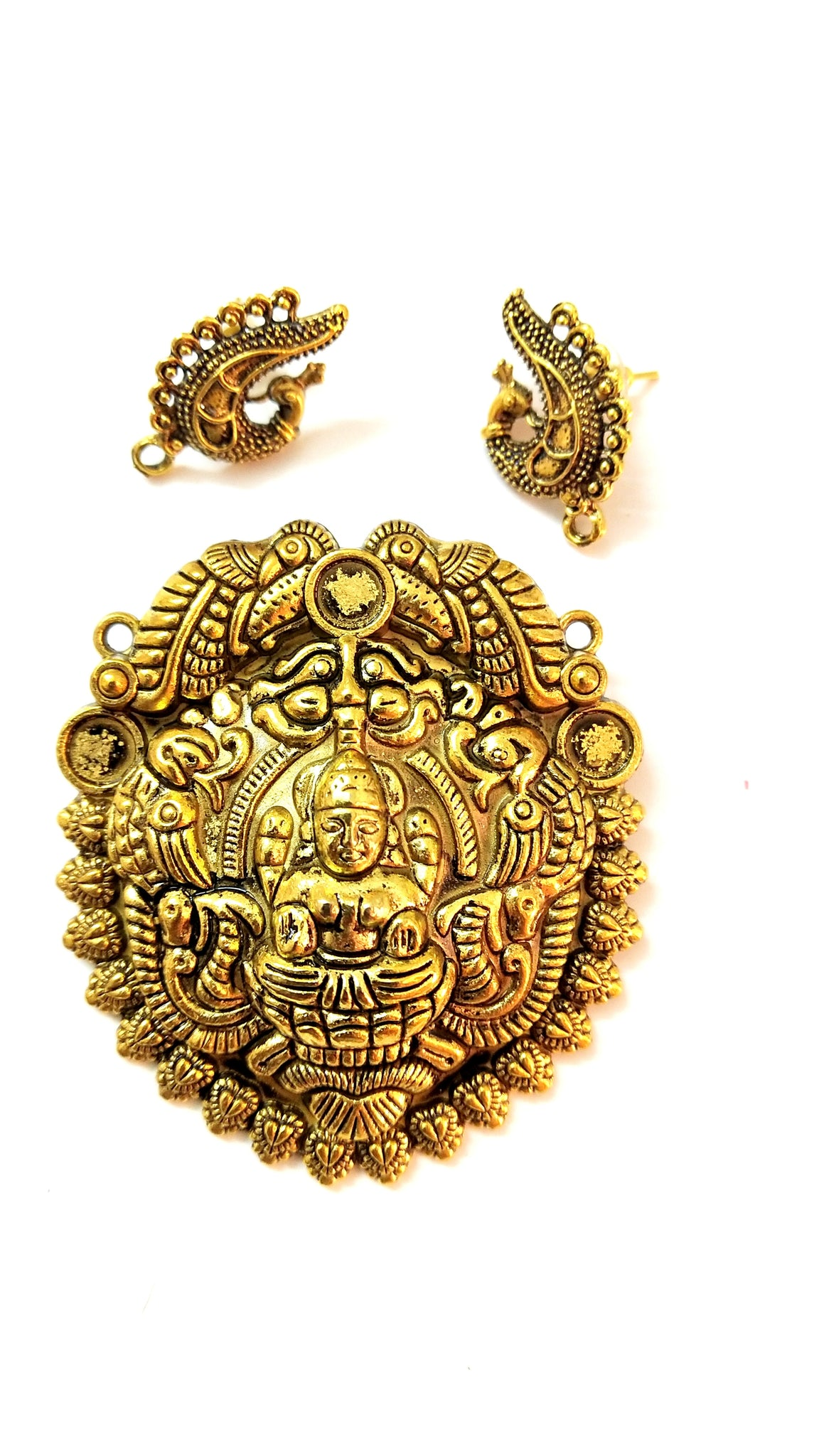 Antique Gold Designer Lakshmi Pendant Stud Combo for Jewellery Making Pattern 23