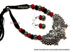 Red Black Oxidised Silver Peacock Pendant Oxidized Jewelry Set