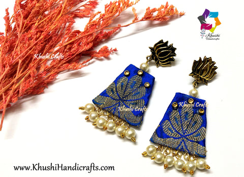 Royal Blue Silk Fabric Earrings with Lotus studs and Pearl Ghungroo Danglers!