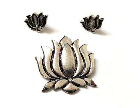 Antique Silver Lotus Pendant Stud Combo for Jewellery Making