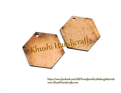 Hexagon MDF Earring Pendant /Key chain bases for Resin,Epoxy resin and Decoupage