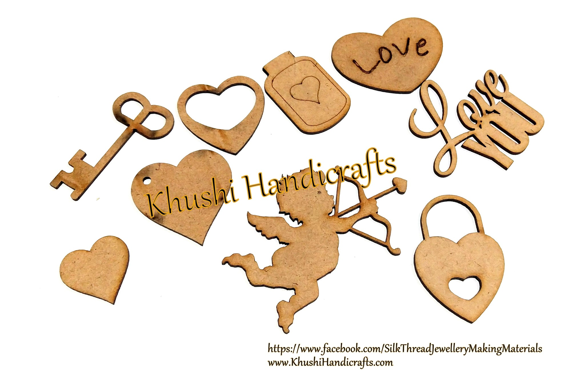 Love angel Lock heart MDF cuts