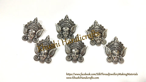 Antique Silver Small Durga Pendants .Sold as a pack of 6 pieces!