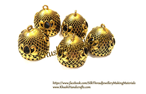 German Silver Jhumka Base -Antique Gold Flower Pattern - 25*25MM. Sold per Pair