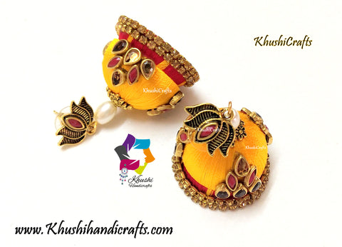 Yellow Red Silk thread Kundan Jhumkas with Lotus stud