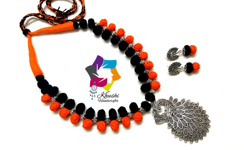Peacock Oxidised silver Jewellery | Handmade German silver necklace in Black and Orange