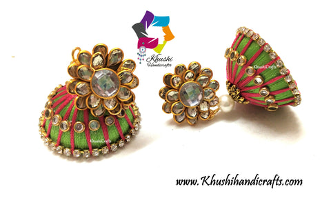 Green Pink Silk thread Jhumkas with Pachi Stud