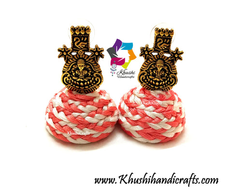 Peach Silk thread braided Jhumkas with Lakshmi Stud