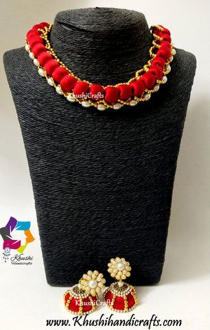 Designer Bridal Red Silk Thread Pearl Jewelry Necklace set!