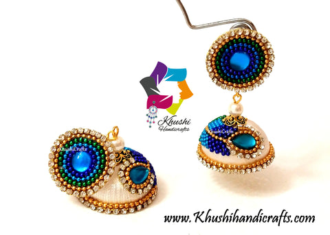 Peacock Silk thread Jhumkas