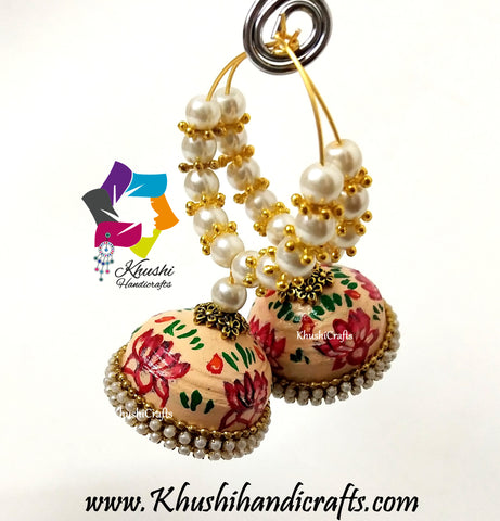 Quilling Jhumkas, Beautiful Paper Hoop Earrings Meenakari Enamel Style work